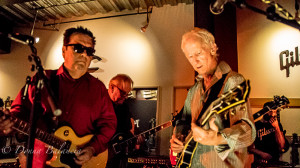 Cesar Rosas of Los Lobos jams with Robby Krieger at Gibson launch party - Photo © 2015 Donna Balancia
