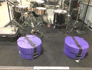 Drums and equipment are lined up and ready for their cue - Photo courtesy The Recording Academy
