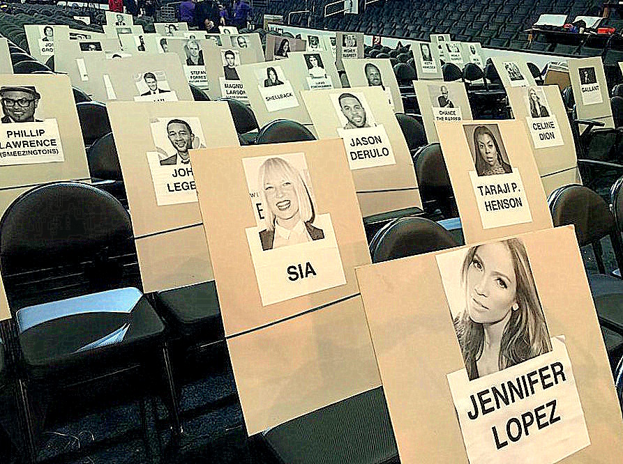 Faces of rock stars appear on placeholders as a rock star team produces the GRAMMY Awards show - Photo courtesy of The Recording Academy