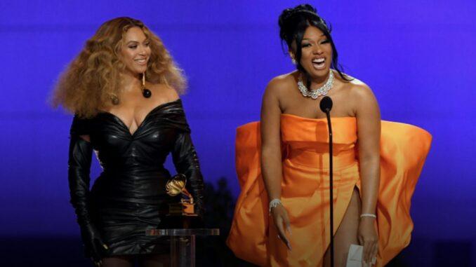Beyonce Looks Admiringly at 'Savage' Partner Megan Thee Stallion - Courtesy GRAMMYs